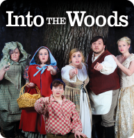 """Into the Woods<br><span style=""""font-size:medium""""> PRESENTED BY </span>Kansas Wesleyan University & SCT"""
